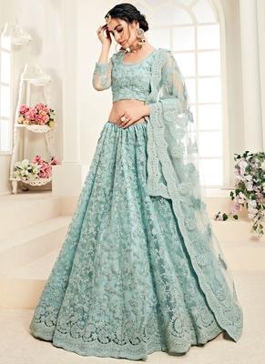 Sky Blue Designer Wedding Wear Embroidery Lehenga