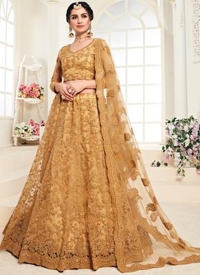 Mustard Designer Wedding Wear Embroidery Lehenga