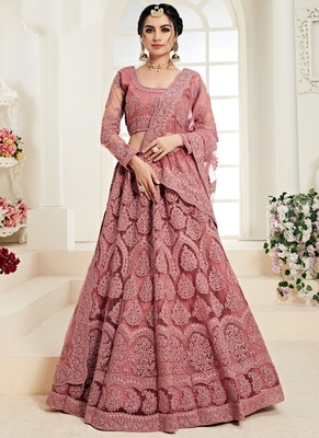 Dark Pink Designer Wedding Wear Embroidery Lehenga