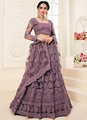 Dark Mauve Designer Wedding Wear Embroidery Lehenga