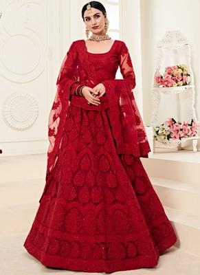 Dark Ruby Designer Wedding Wear Embroidery Lehenga
