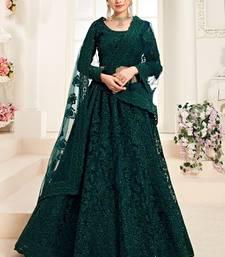 Dark Teal Designer Wedding Wear Embroidery Lehenga