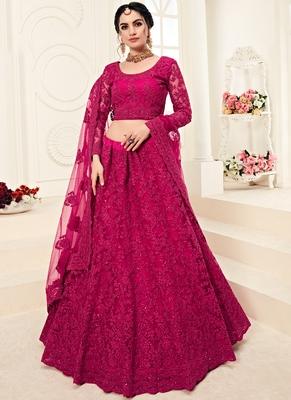 Dark Rani Pink Designer Wedding Wear Embroidery Lehenga