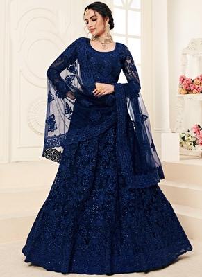 Cobalt Blue Designer Wedding Wear Embroidery Lehenga