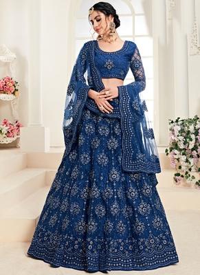 Indigo Designer Wedding Wear Embroidery Lehenga