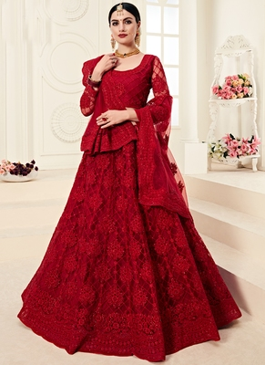Dark Ruby Designer Wedding Wear Embroidery Lehenga