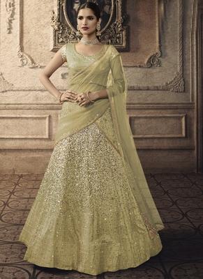 Lime Designer Wedding Wear Embroidery Lehenga