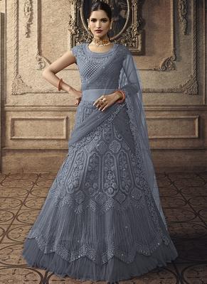 Dark Cyan Designer Wedding Wear Embroidery Lehenga