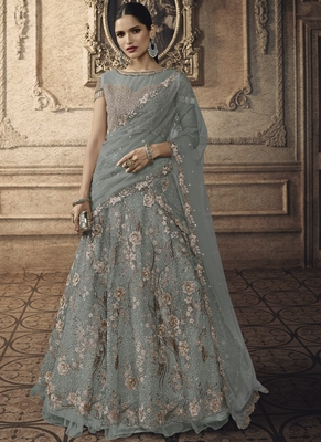 Grey Designer Wedding Wear Embroidery Lehenga