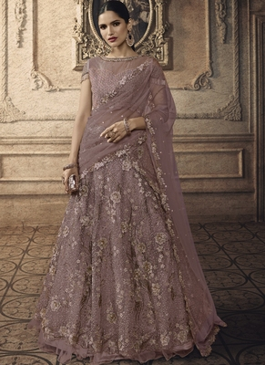 Dark Onion Pink Designer Wedding Wear Embroidery Lehenga