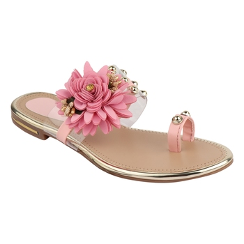 pink solid casual synthetic flats
