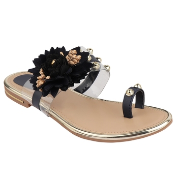black solid casual synthetic flats