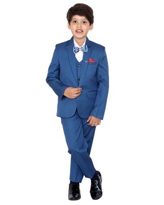 Turquoise plain polyester boys-suit