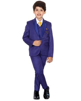 Blue plain polyester boys-suit