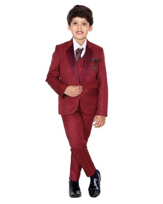 Maroon plain polyester boys-suit
