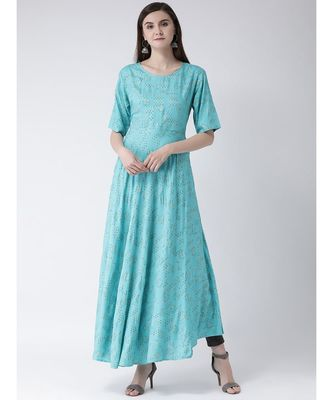 Women Turquoise Rayon Flared Kurta
