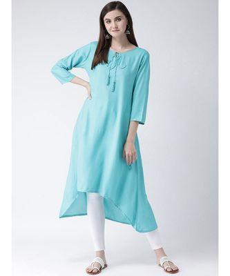 Women Turquoise Rayon A-line Kurta