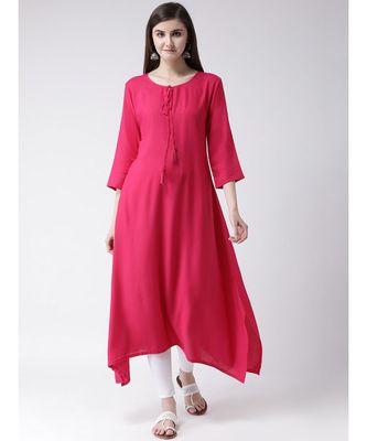 Women Red Rayon A-line Kurta