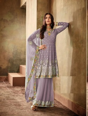 Purple Georgette Embroidered Work With Long Straight Suit + Sharara
