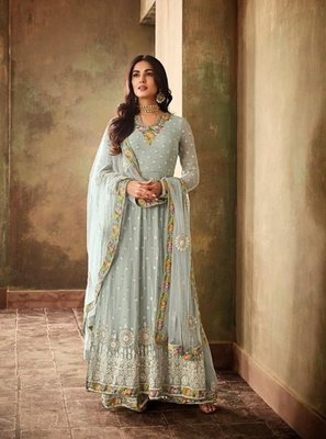 Sky Georgette Embroidered Work With Long Straight Suit + Sharara