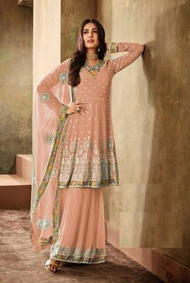 Light Peach Georgette Embroidered Work With Long Straight Suit + Sharara