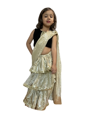 beige woven stitched art_silk kids-sarees