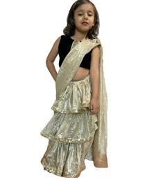 beige woven stitched art_silk kids-sarees