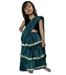 green woven stitched art_silk kids-sarees