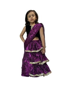 purple woven stitched art_silk kids-sarees