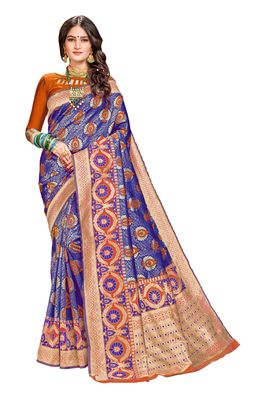 Blue plain banarasi silk saree with blouse