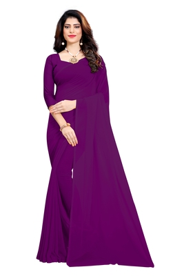 Dark magenta plain georgette saree with blouse
