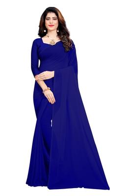 Royal blue plain georgette saree with blouse