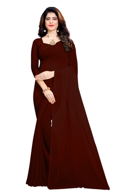 Brown plain georgette saree with blouse