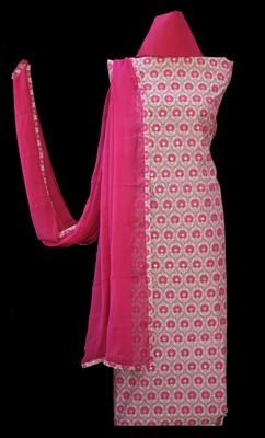 multicolor printed chanderi unstitched salwar with dupatta