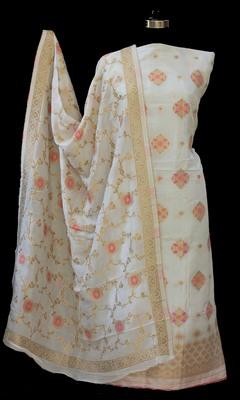 off white printed silk unstitched salwar with dupatta