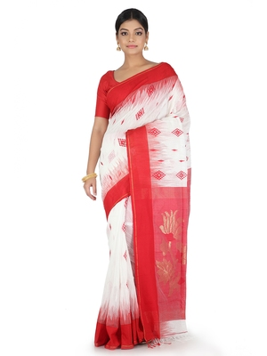 White hand woven cotton silk saree with blouse