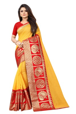 Yellow woven chanderi saree with blouse