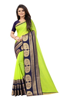 Light parrot green woven chanderi saree with blouse