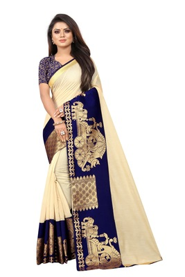 Cream woven chanderi saree with blouse