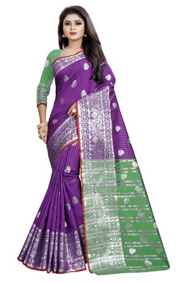 Purpal woven cotton saree with blouse