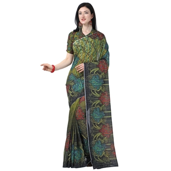 Multicolor printed chanderi saree with blouse