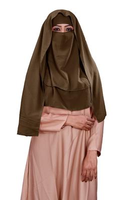 Plain 3 Layer Hijab Style Diamond Georgette Niqab Veil Scarf For Women