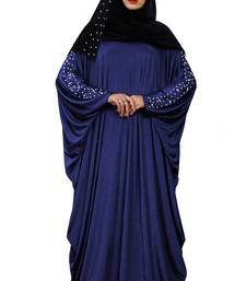 Women'S Casual Wear Pearl Work Plain Abaya With Hijab Scarf