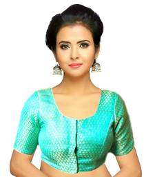 Turquoise Green Brocade Readymade Blouse
