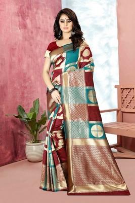 Maroon Woven Kanjivaram Silk Saree With Blouse