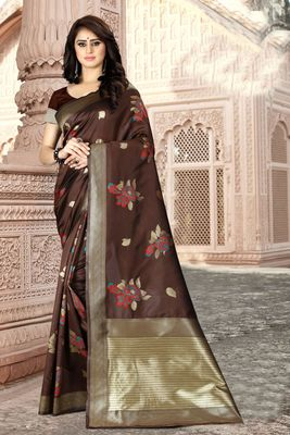 Brown woven kanjivaram silk saree with blouse
