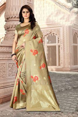 Cream Woven Kanjivaram Silk Saree With Blouse