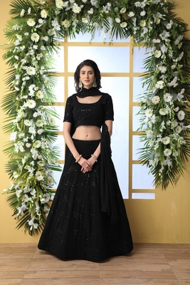 Black embroidered georgette semi stitched lehenga