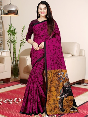 Magenta printed saree with blouse