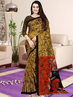 Yellow printed saree with blouse